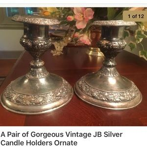 2 Gorgeous Vintage JB Silver Candle Holders Ornate